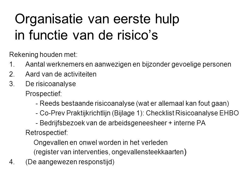 Organisatie van eerste hulp in functie van de risico's