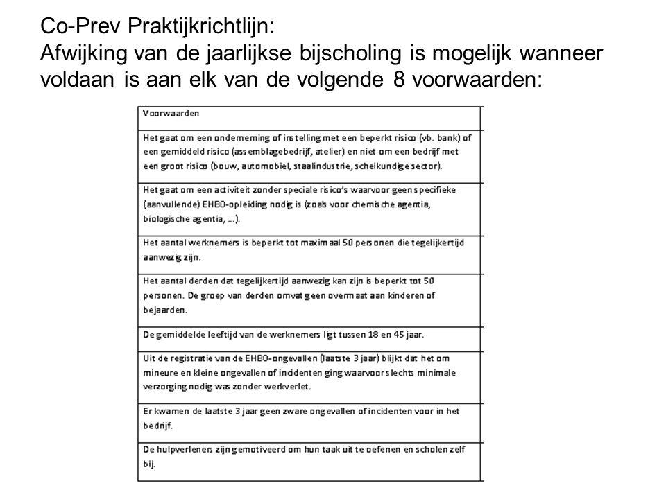 Co-Prev Praktijkrichtlijn: Afwijking van de jaarlijkse bijscholing is mogelijk wanneer voldaan is aan elk van de volgende 8 voorwaarden: