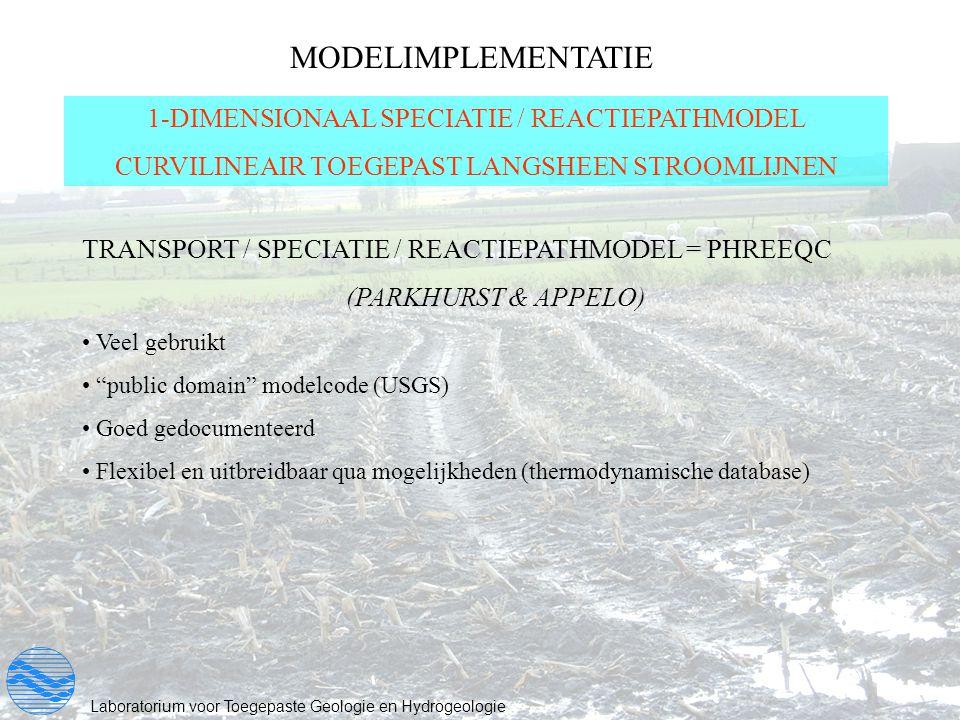 MODELIMPLEMENTATIE 1-DIMENSIONAAL SPECIATIE / REACTIEPATHMODEL