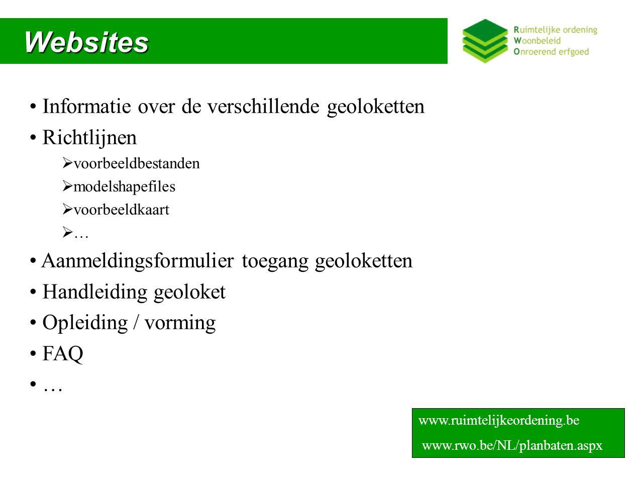 Websites Informatie over de verschillende geoloketten Richtlijnen
