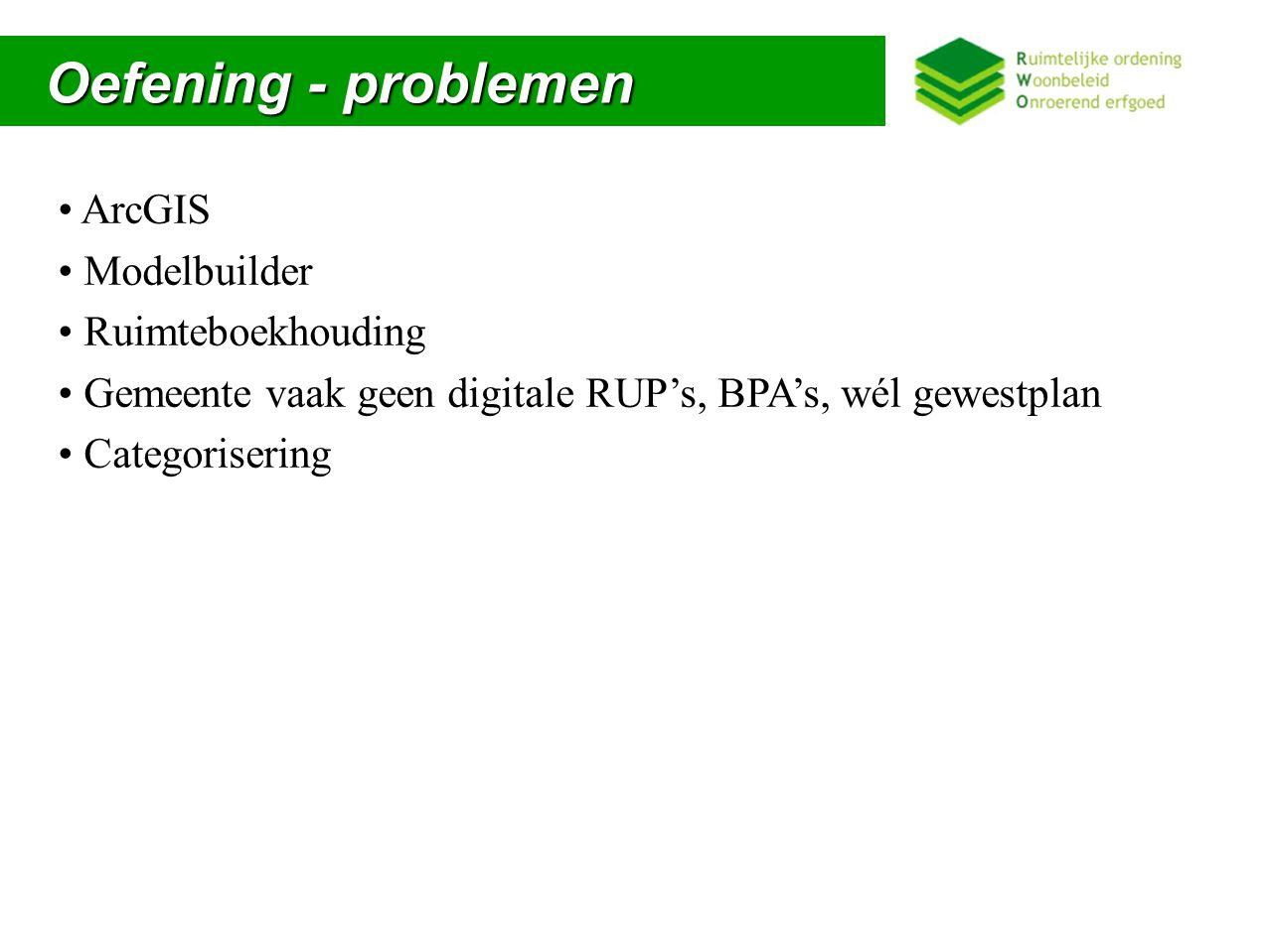 Oefening - problemen ArcGIS Modelbuilder Ruimteboekhouding