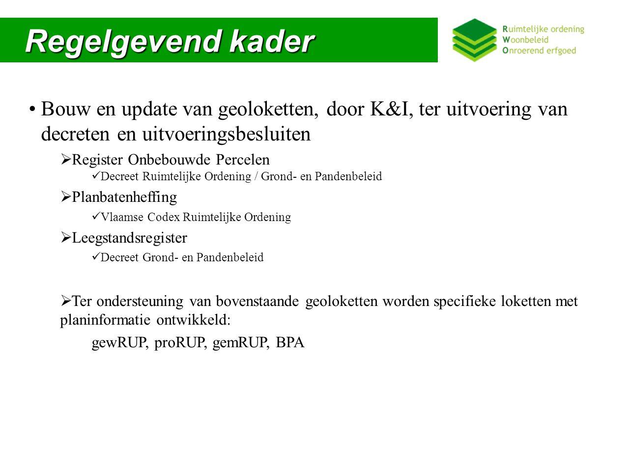 Regelgevend kader Bouw en update van geoloketten, door K&I, ter uitvoering van decreten en uitvoeringsbesluiten.