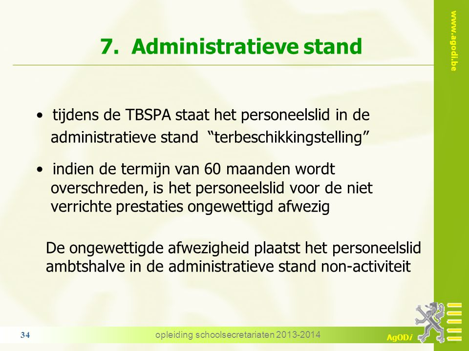 7. Administratieve stand