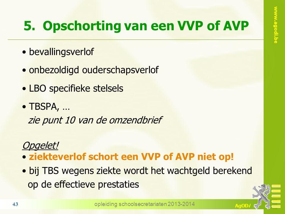 5. Opschorting van een VVP of AVP