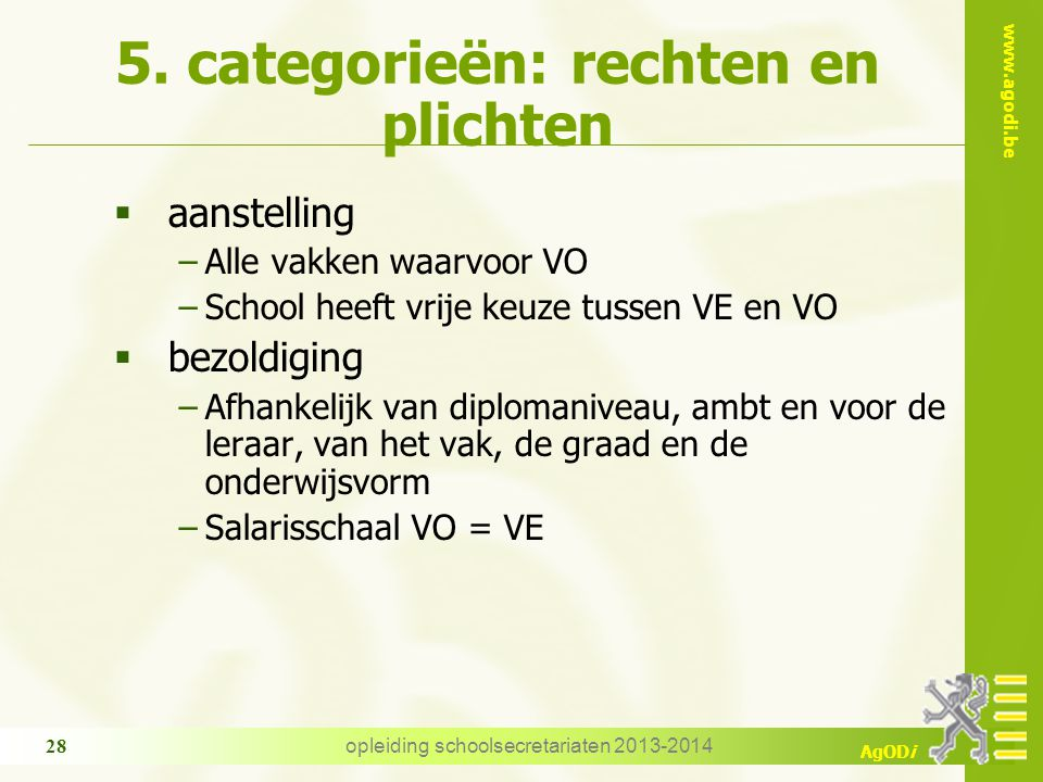 5. categorieën: rechten en plichten