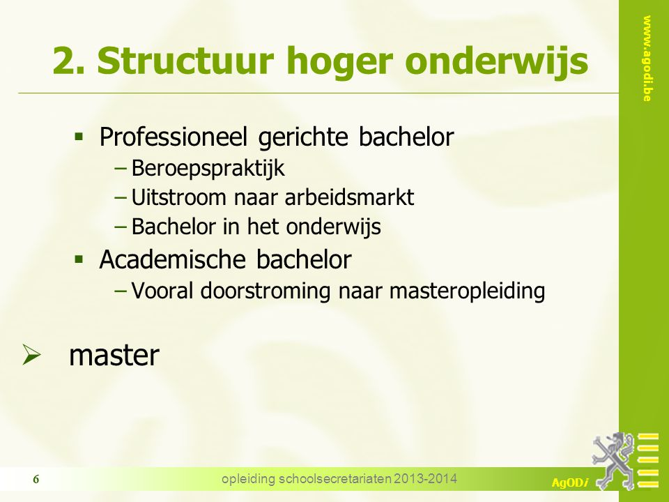 2. Structuur hoger onderwijs