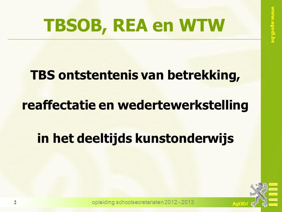 TBSOB, REA en WTW TBS ontstentenis van betrekking,