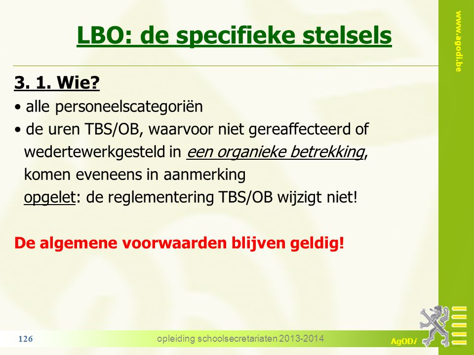 LBO: de specifieke stelsels