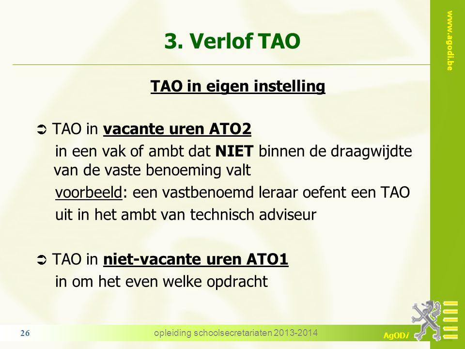3. Verlof TAO TAO in eigen instelling