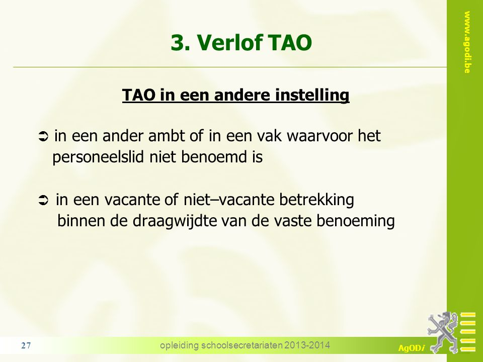 3. Verlof TAO TAO in een andere instelling