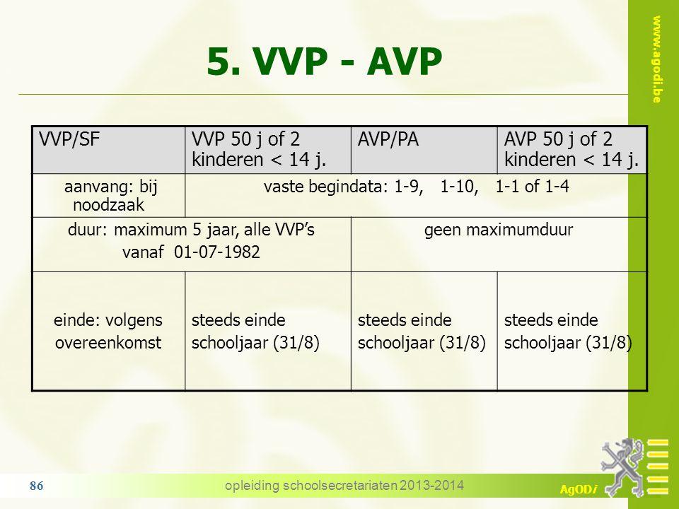 5. VVP - AVP VVP/SF VVP 50 j of 2 kinderen < 14 j. AVP/PA