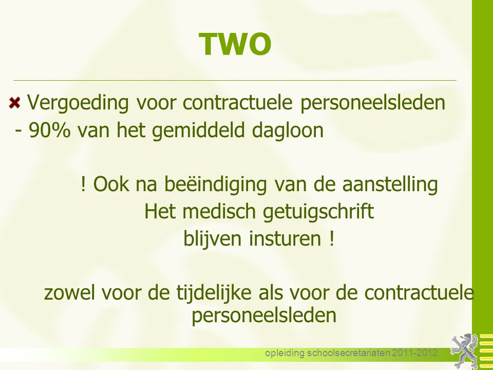 TWO Vergoeding voor contractuele personeelsleden