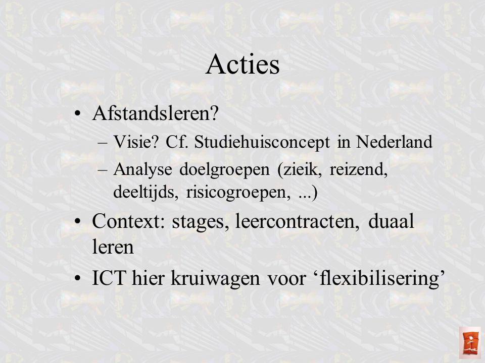 Acties Afstandsleren Context: stages, leercontracten, duaal leren