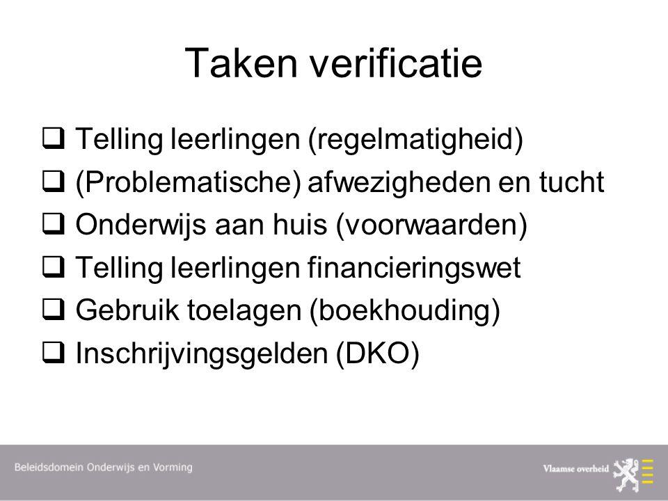 Taken verificatie Telling leerlingen (regelmatigheid)