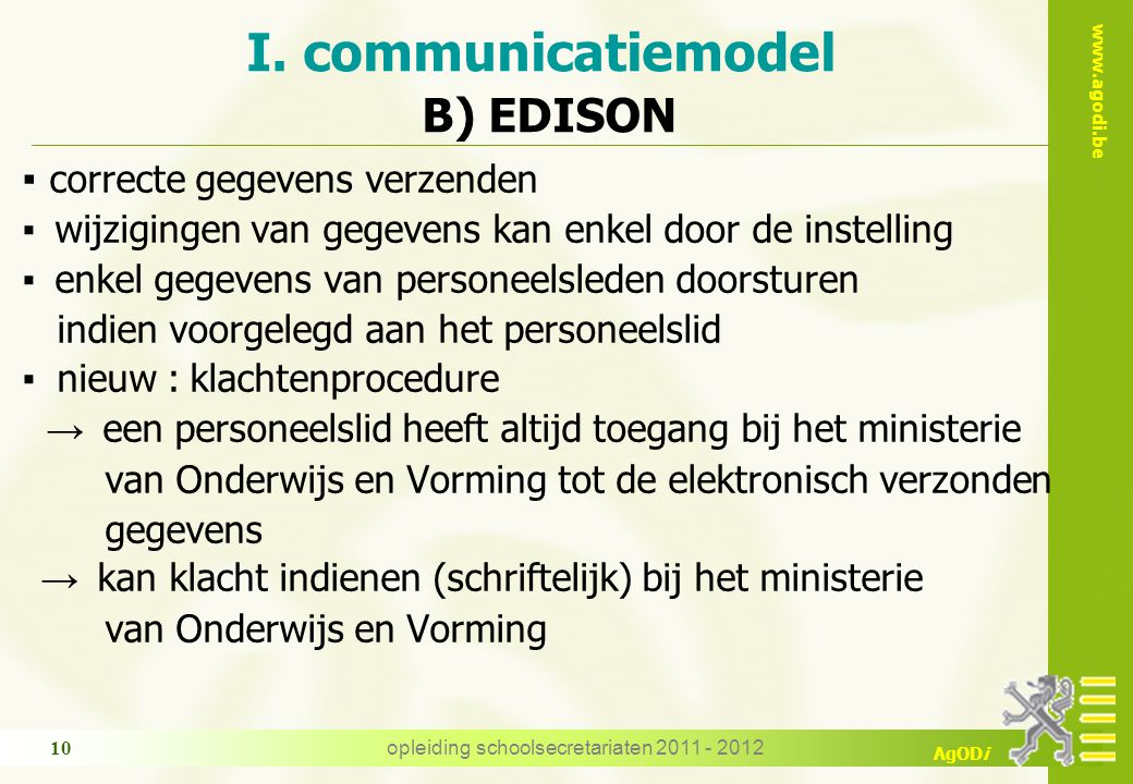 I. communicatiemodel B) EDISON