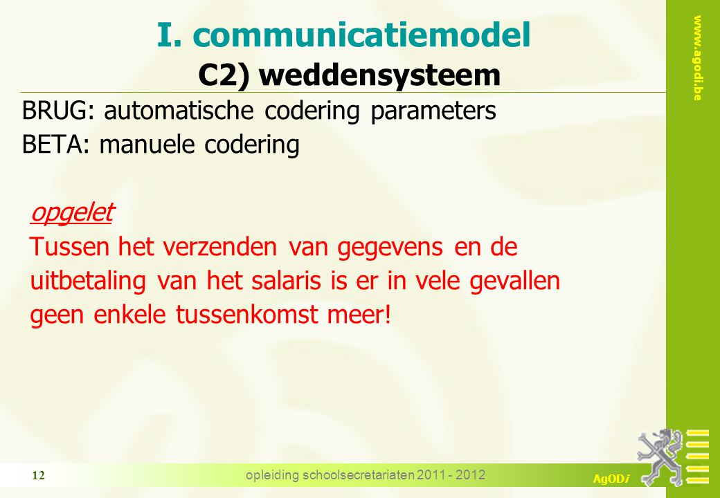 I. communicatiemodel C2) weddensysteem