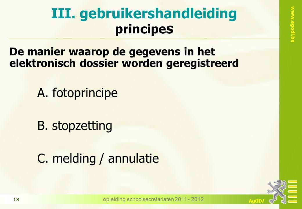 III. gebruikershandleiding principes
