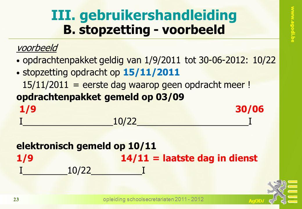 III. gebruikershandleiding B. stopzetting - voorbeeld
