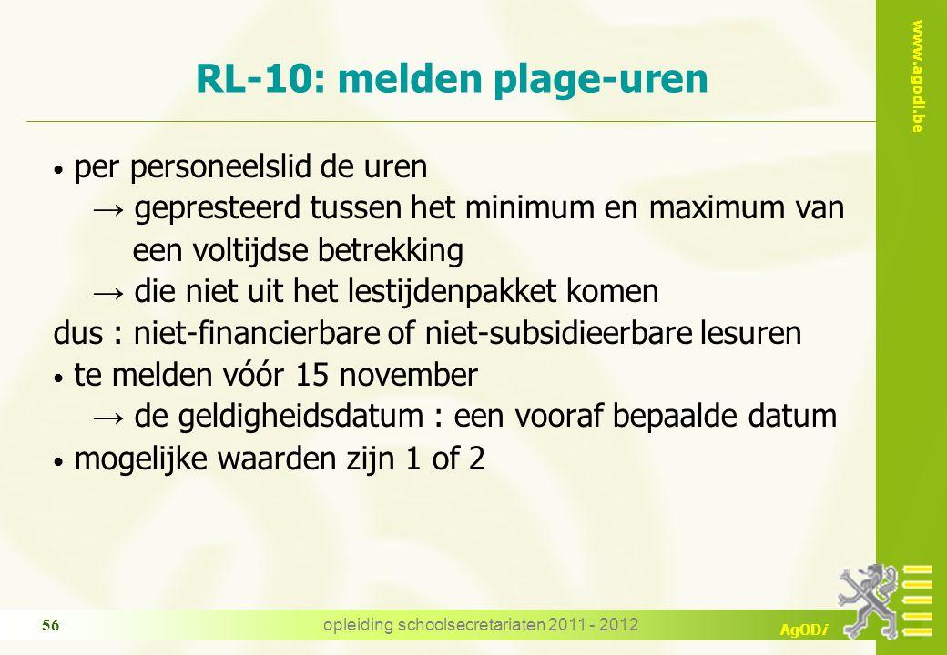 RL-10: melden plage-uren