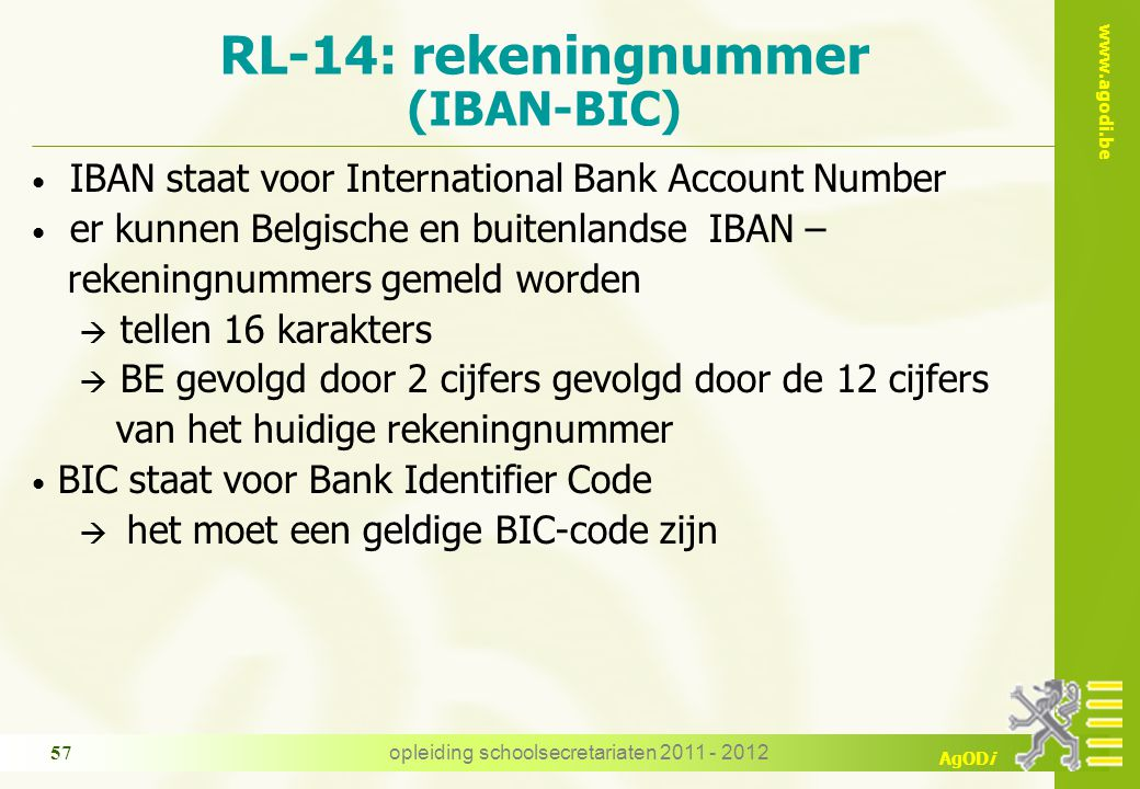 RL-14: rekeningnummer (IBAN-BIC)