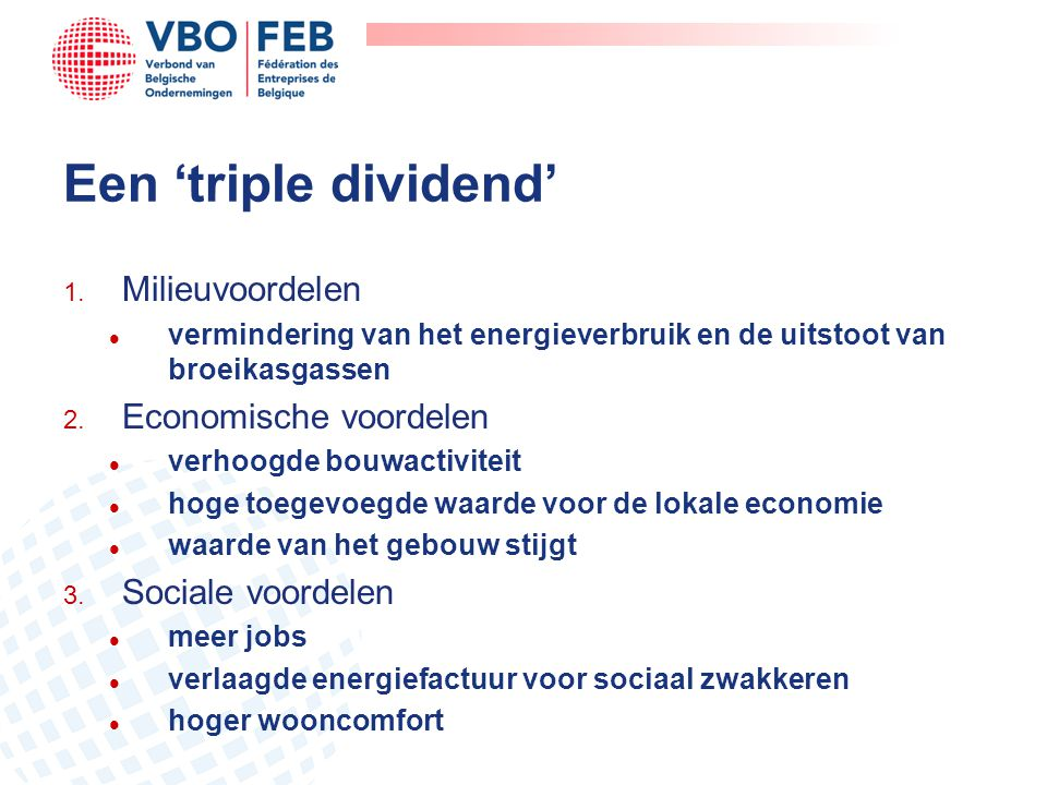 Een 'triple dividend' Milieuvoordelen Economische voordelen