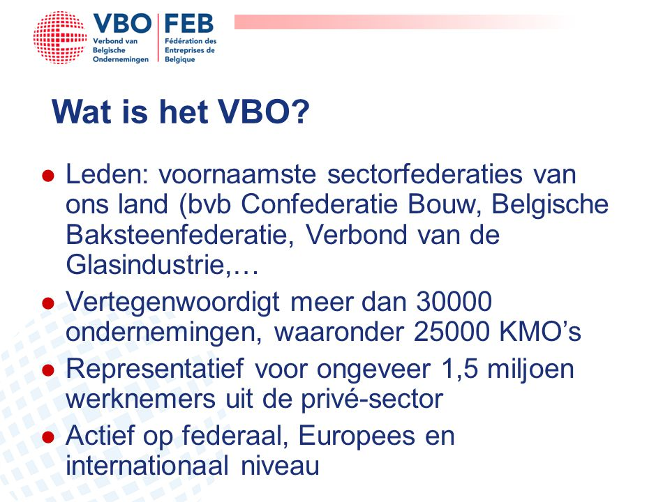 Wat is het VBO Leden: voornaamste sectorfederaties van ons land (bvb Confederatie Bouw, Belgische Baksteenfederatie, Verbond van de Glasindustrie,…