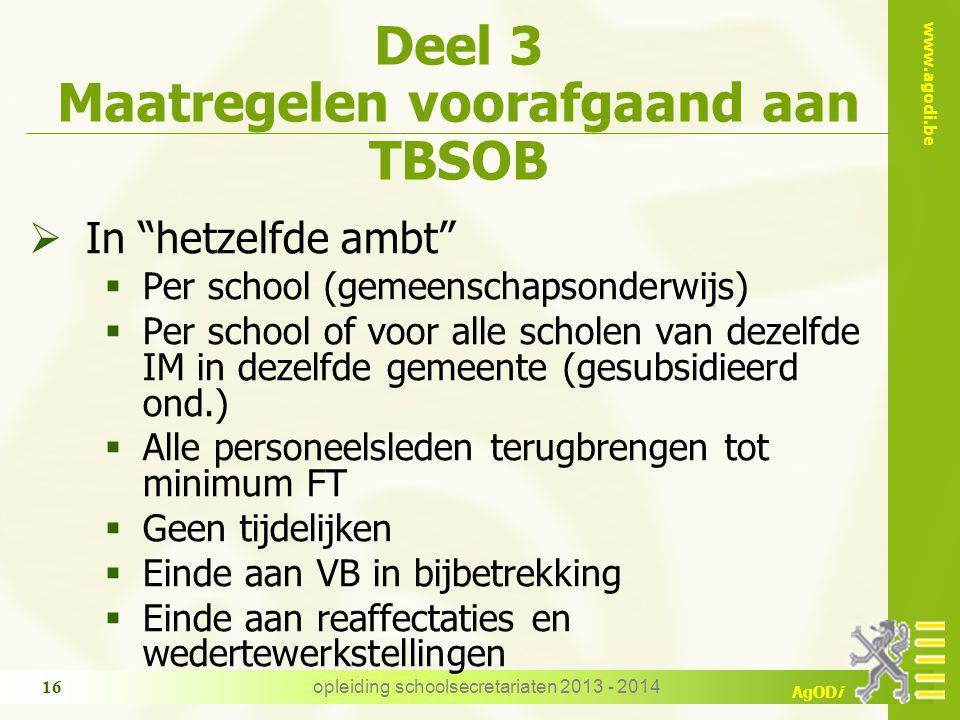 Deel 3 Maatregelen voorafgaand aan TBSOB