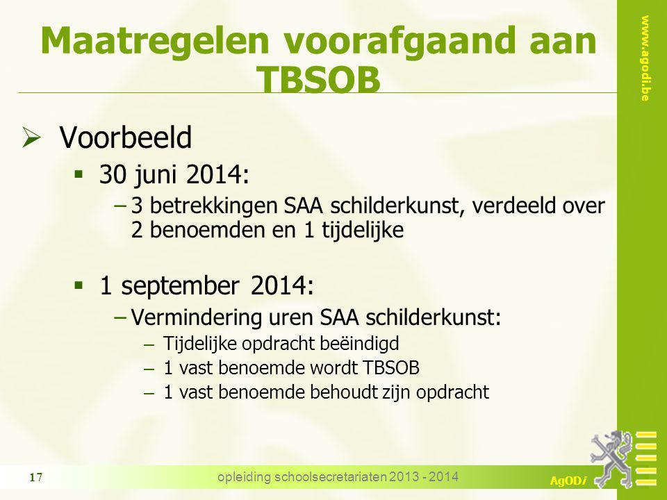 Maatregelen voorafgaand aan TBSOB