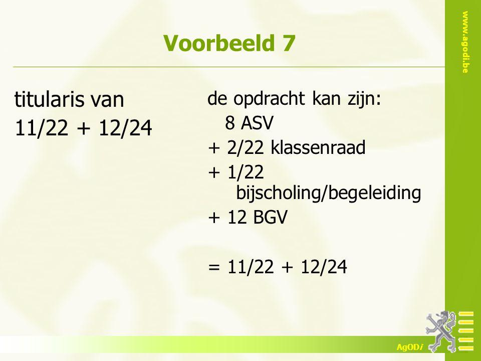 Voorbeeld 7 titularis van 11/22 + 12/24 de opdracht kan zijn: 8 ASV