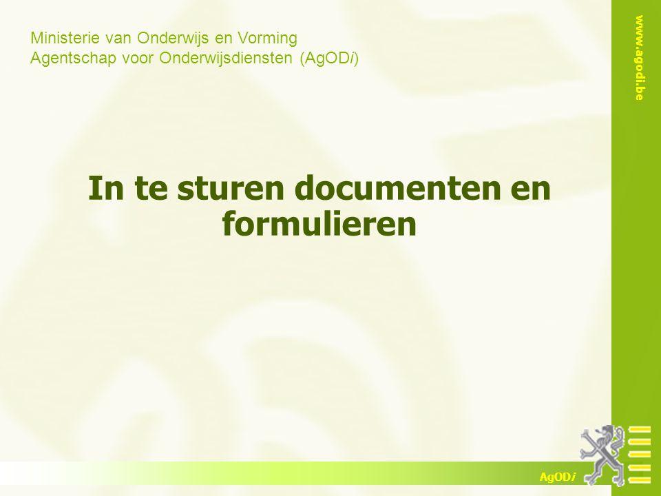 In te sturen documenten en formulieren