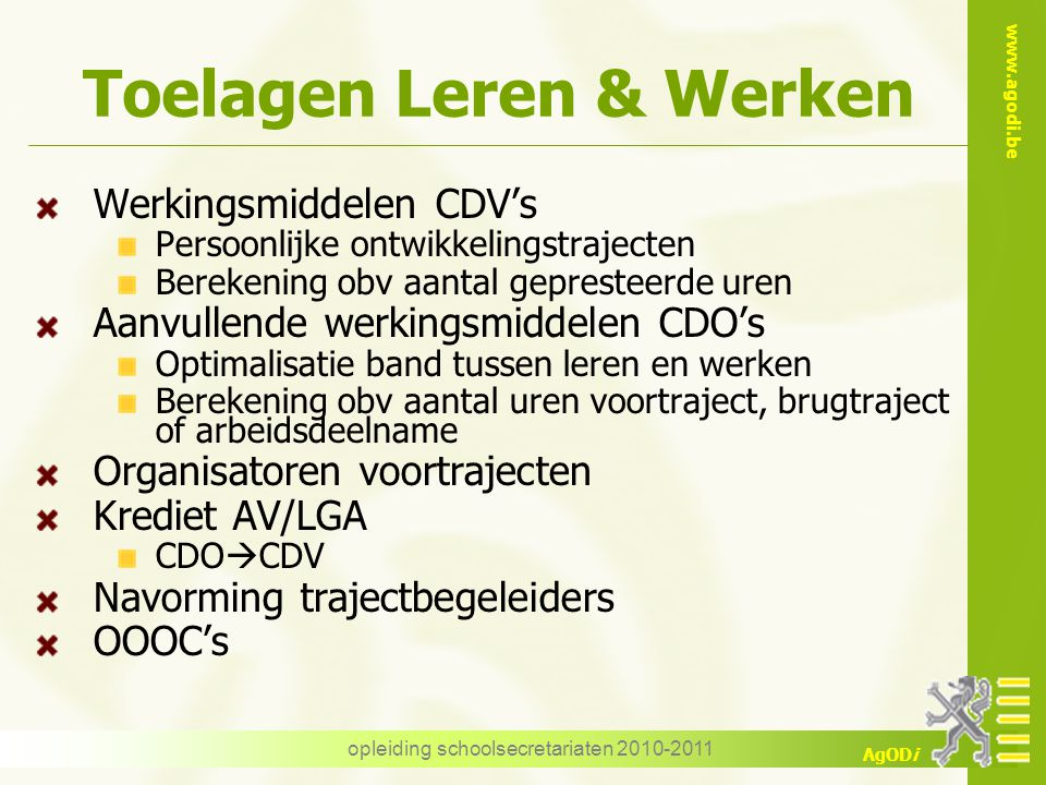 Toelagen Leren & Werken