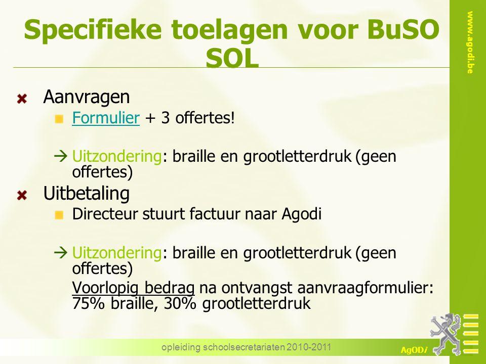 Specifieke toelagen voor BuSO SOL