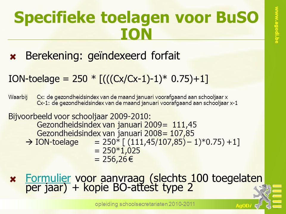 Specifieke toelagen voor BuSO ION