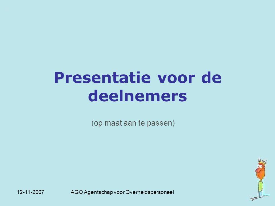 Presentatie voor de deelnemers
