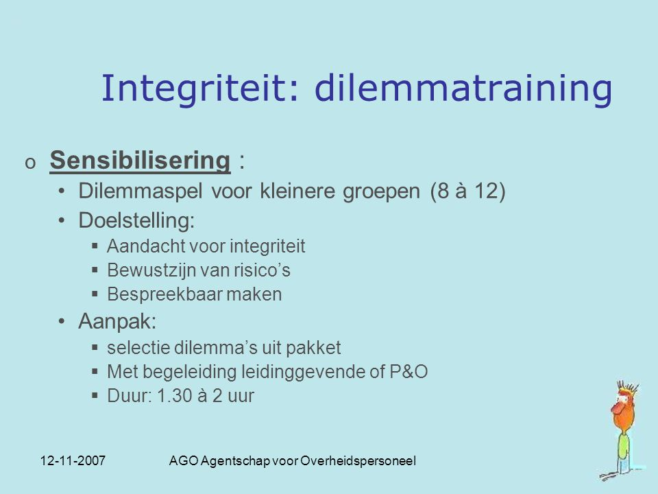 Integriteit: dilemmatraining