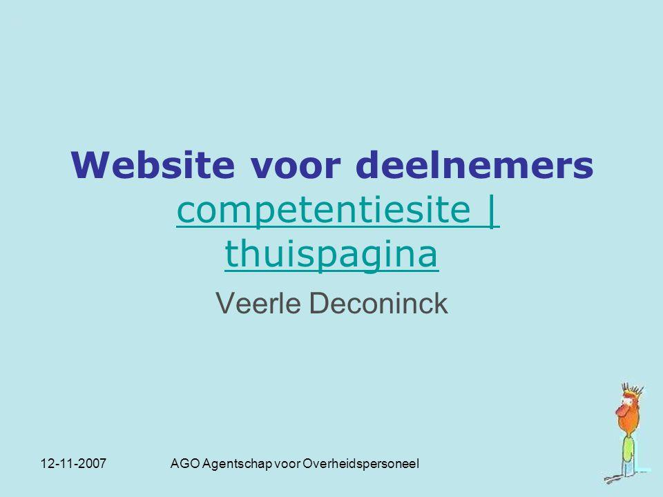 Website voor deelnemers competentiesite | thuispagina