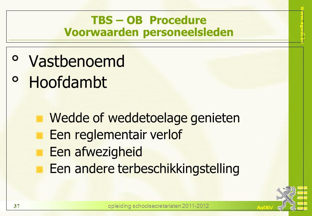 TBS – OB Procedure Voorwaarden personeelsleden