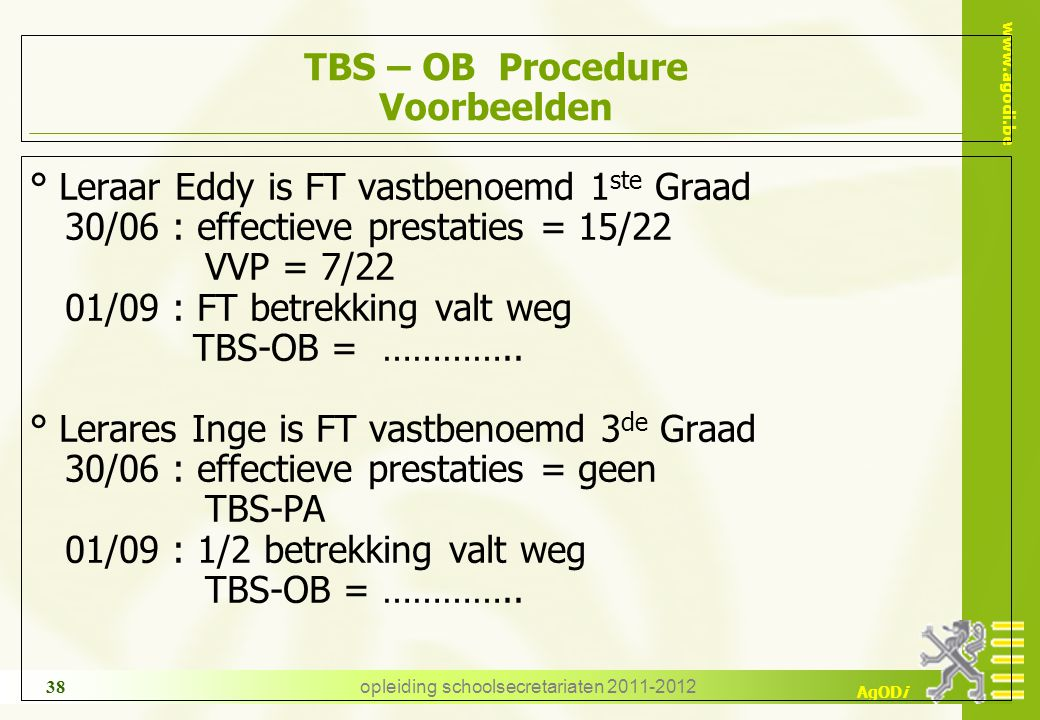 TBS – OB Procedure Voorbeelden