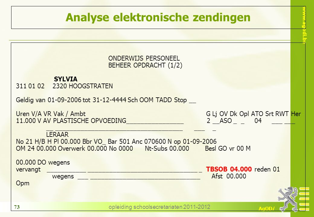 Analyse elektronische zendingen