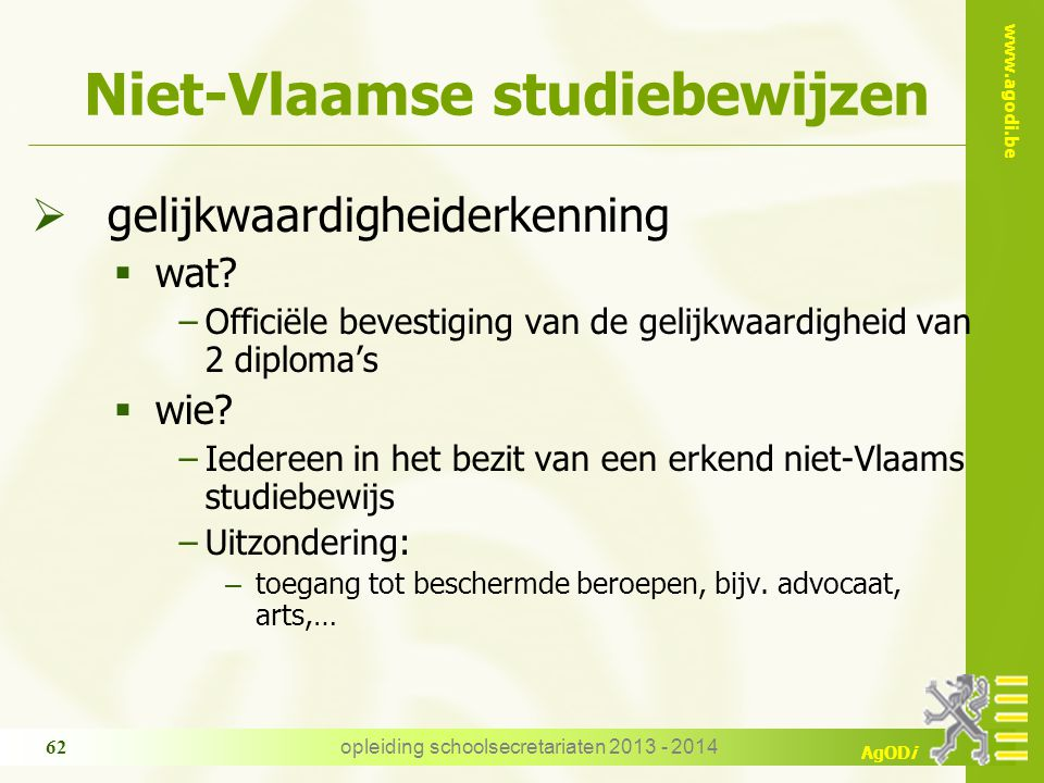 Niet-Vlaamse studiebewijzen