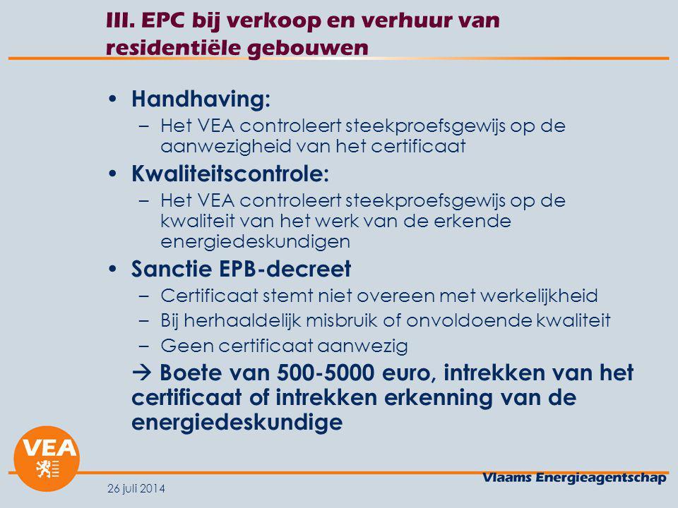 III. EPC bij verkoop en verhuur van residentiële gebouwen