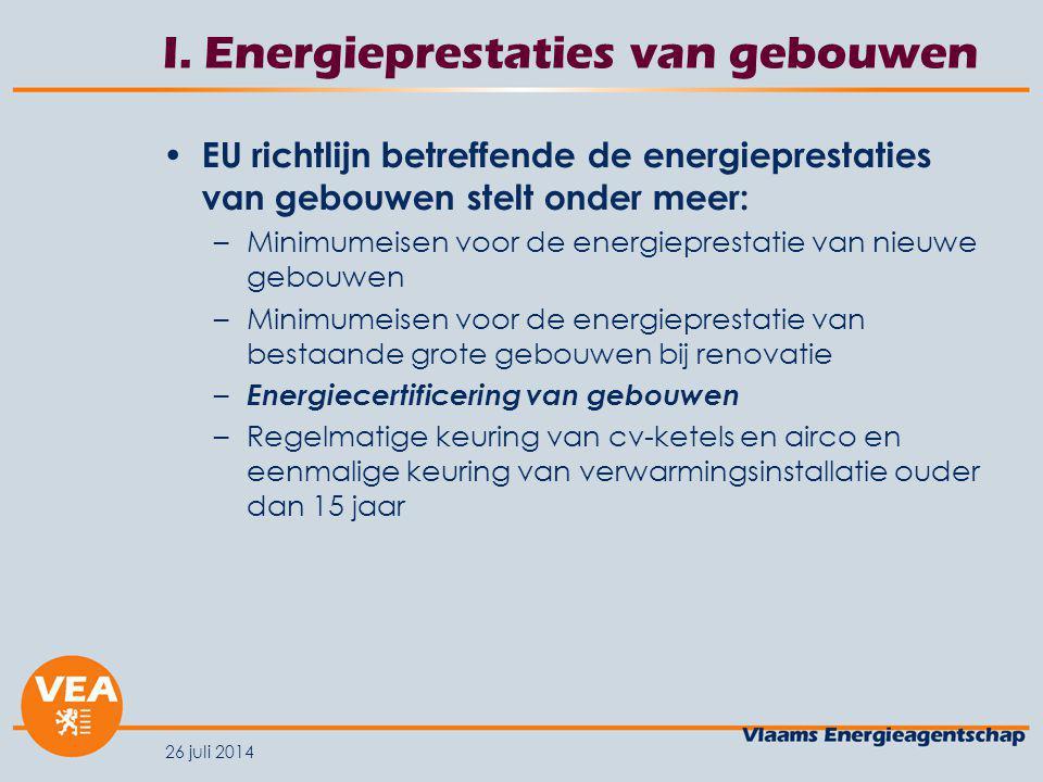 I. Energieprestaties van gebouwen