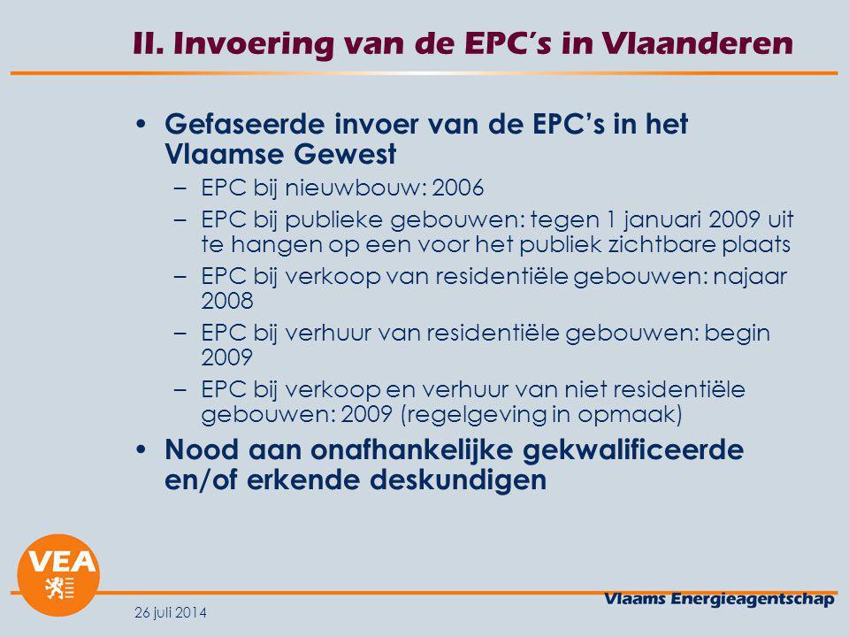 II. Invoering van de EPC's in Vlaanderen