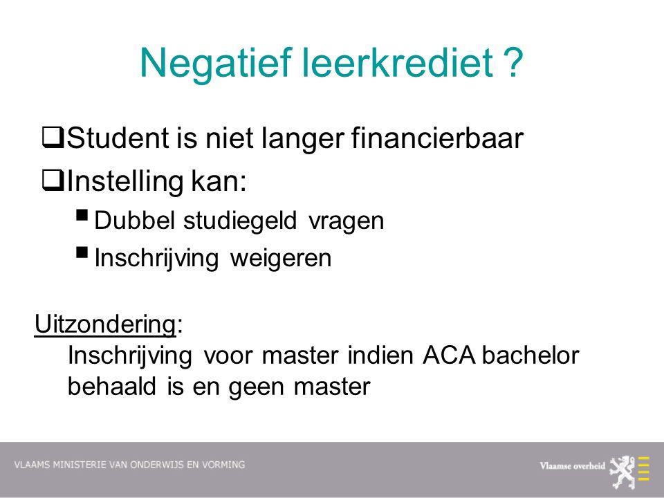 Negatief leerkrediet Student is niet langer financierbaar