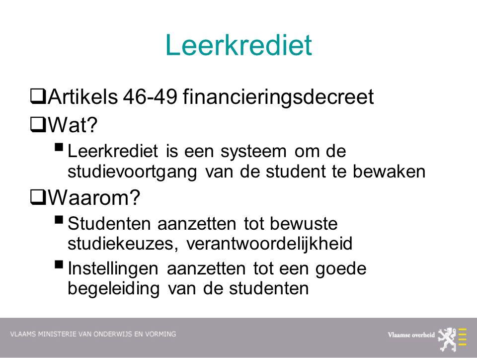 Leerkrediet Artikels 46-49 financieringsdecreet Wat Waarom