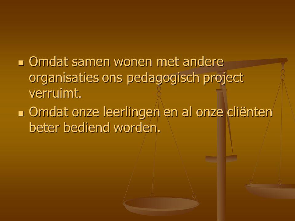 Omdat samen wonen met andere organisaties ons pedagogisch project verruimt.