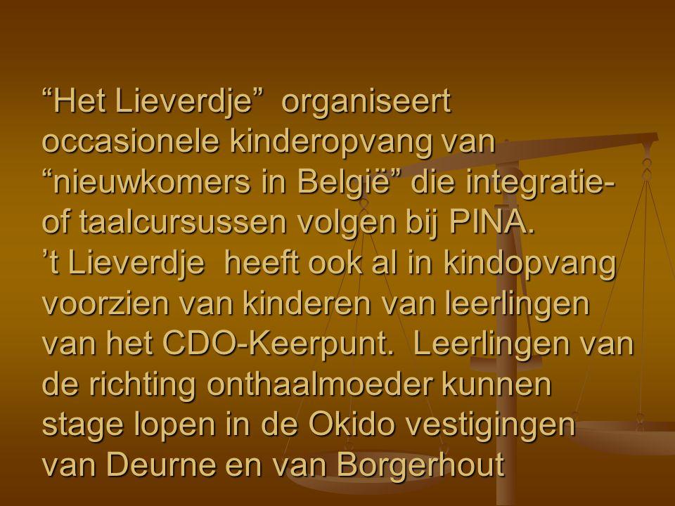 Het Lieverdje organiseert occasionele kinderopvang van nieuwkomers in België die integratie-of taalcursussen volgen bij PINA.