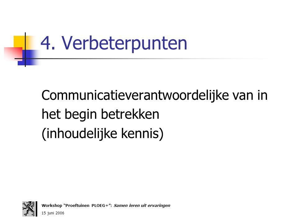 4. Verbeterpunten Communicatieverantwoordelijke van in