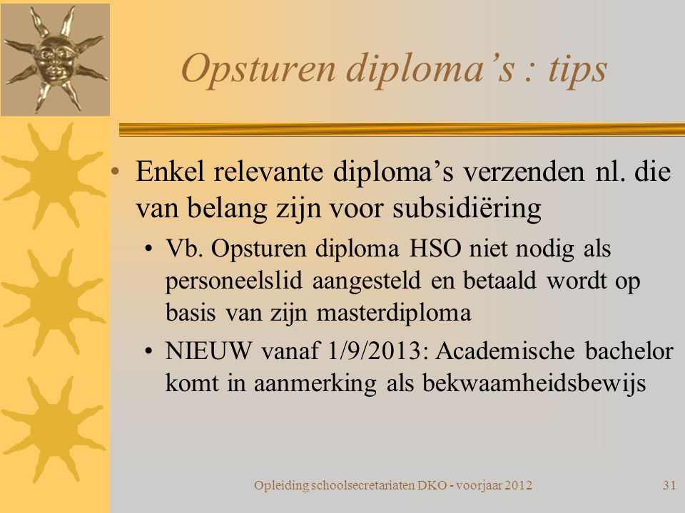 Opsturen diploma's : tips