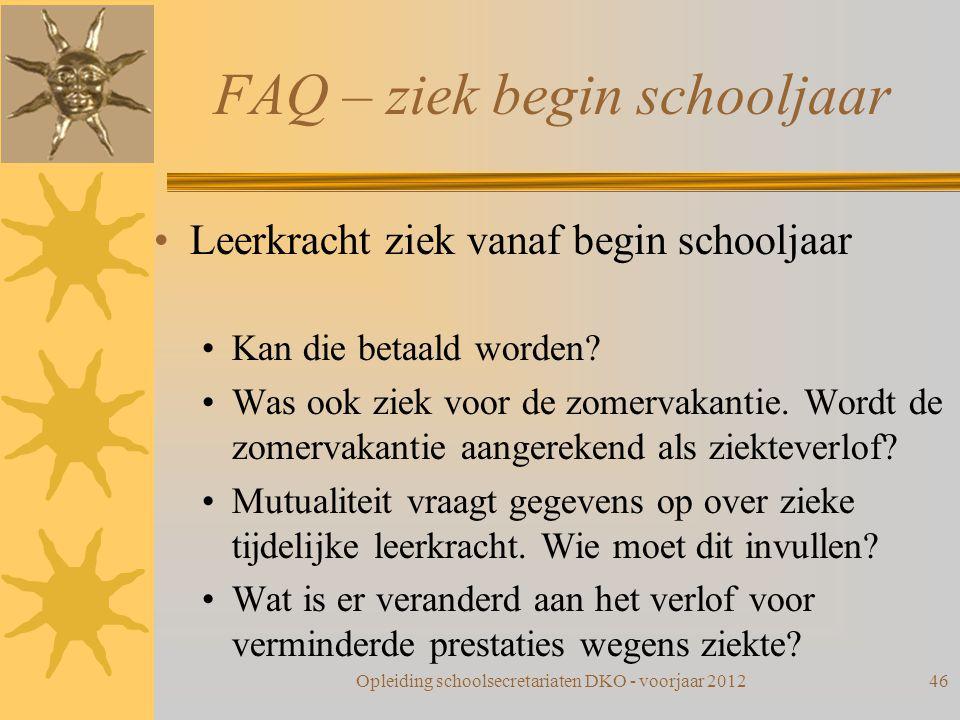 FAQ – ziek begin schooljaar